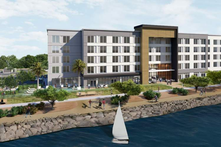 City of Alameda &nbsp&nbsp With Planning Board approval, this hotel will stand on the now vacant property at Harbor Bay Parkway and Bay Edge Road.