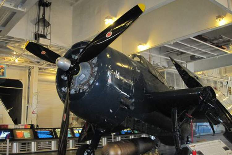 """The Grumman TBM-3 Avenger torpedo bomber """"Miss June"""" aboard the USS Hornet. Courtesy photo."""