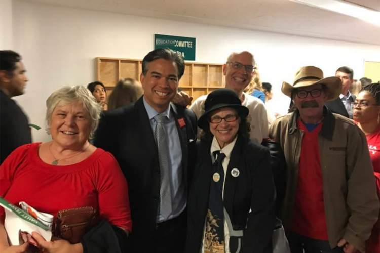 Courtesy photo  Alamedans gather around state Assemblymember Rob Bonta (second from left) including, left to right, Cheri Johanson, Gaby Dolphin, Dan Wood and Alan Pryor.