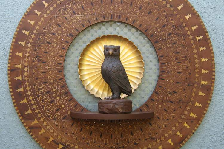 Courtesy photo. This owl on a tray is just one of the pieces of art by Jon Kerpel currently on display at the Main Library.