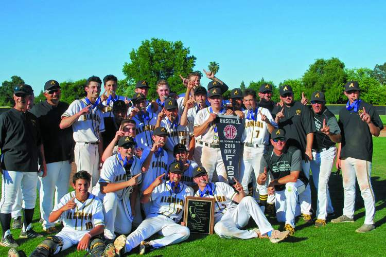 Courtesy Photo &nbsp&nbsp The Alameda High Baseball team celebrate winning the NCS Div. II title with a walk off hit in the seventh inning.