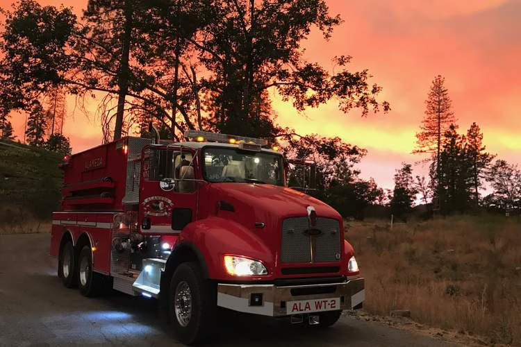 Alameda Fire Department photos. Alameda Fire Department's Water Tender 2 awaits a call to service at the Ferguson Fire burning near Yosemite National Park.