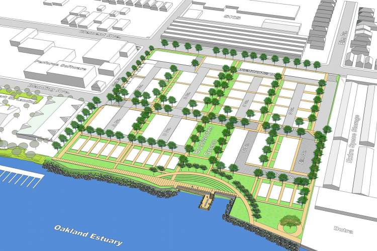 """City of Alameda  Work on the """"Boatworks Green"""" development along the Oakland Estuary at Clement Avenue and Oak Street is scheduled to begin next February. It includes open space pictured here."""
