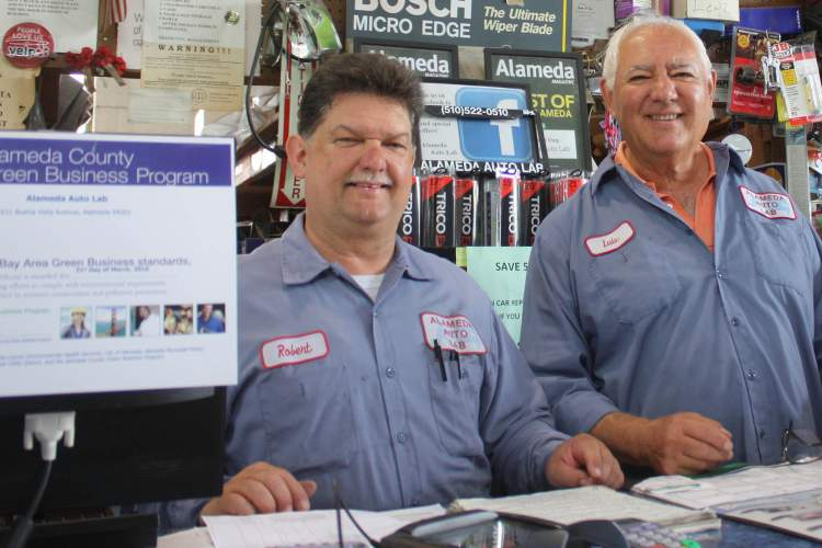 Dennis Evanosky  Robert Ramos (left) and Luis Gomez, the proprietors of Alameda Autolab, recently had their repair shop qualified as an Alameda County Green Business.