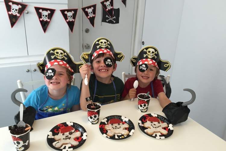 Robin Seeley  Historically, pirates often displayed the identifying colored flags of other ships or nations, thereby not showing their true colors. But Abby, Roan and Julian gladly displayed the skull and crossbones (and their true colors) on the eve of Talk like a Pirate Day.