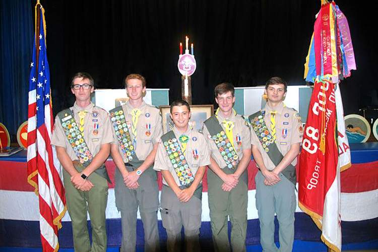Courtesy photo. Alameda Boy Scouts  (from left to right) Christopher Gardner, Kendric Murphy, Miles Orozco, Owen Taffe and Connor Waterloo received Eagle Scout awards during a recent Boy Scouts of America National Court of Honor.