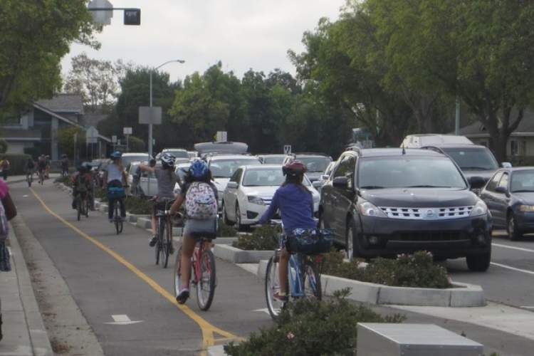 Photos courtesy Bike Walk Alameda, The track on Fernside Boulevard protects children cycling.