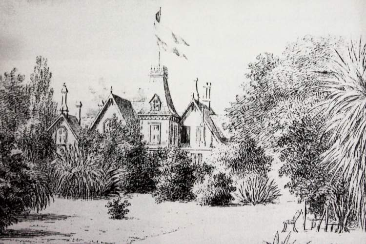 """Courtesy Arthur A. Shilt - This sketch of """"Rosebush"""" shows James D. Farrell's home """"Homebush"""" after the O'Hara Taaffe family moved in."""