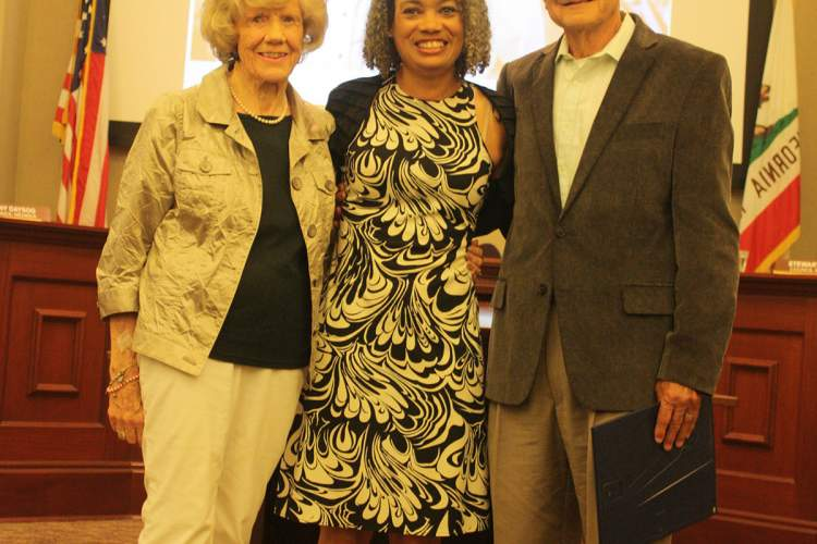 Photo by Dennis Evanosky - Left to right: Norma Arnerich, Mayor Marie Gilmore and the man of the hour, Lil Arnerich