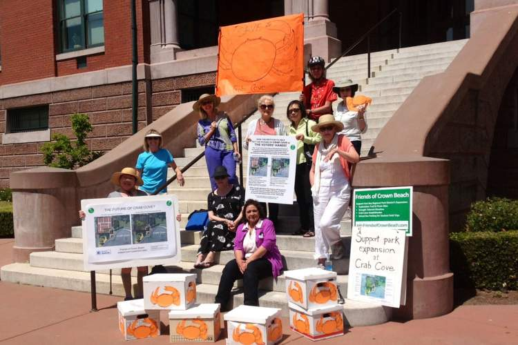 Representatives from Friends of Crown Beach prepare to turn in 6,347 signatures at Alameda City Hall. Courtesy photo