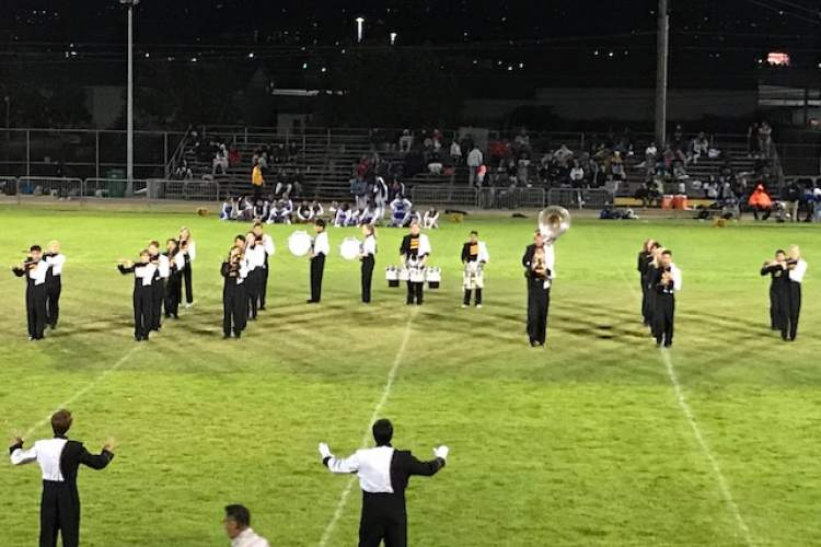 """Courtesy Sue Yajko &nbsp&nbsp Thanks to Alameda parent Sue Yajko, the Alameda Hornets have a new marching band named """"The Sting."""" The band fills a void left since the early 1990s."""