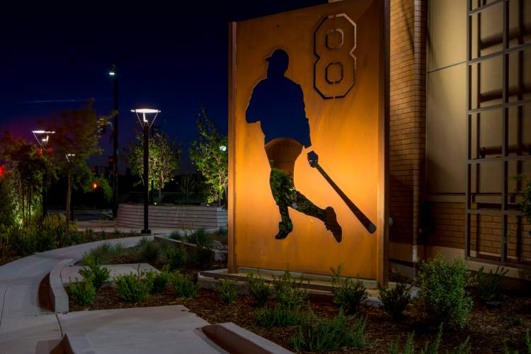 Courtesy photo. The baseball bearing Willie Stargell's signature appears in the distance through the cut out of Stargell alongside Alameda Landing's new Safeway store.