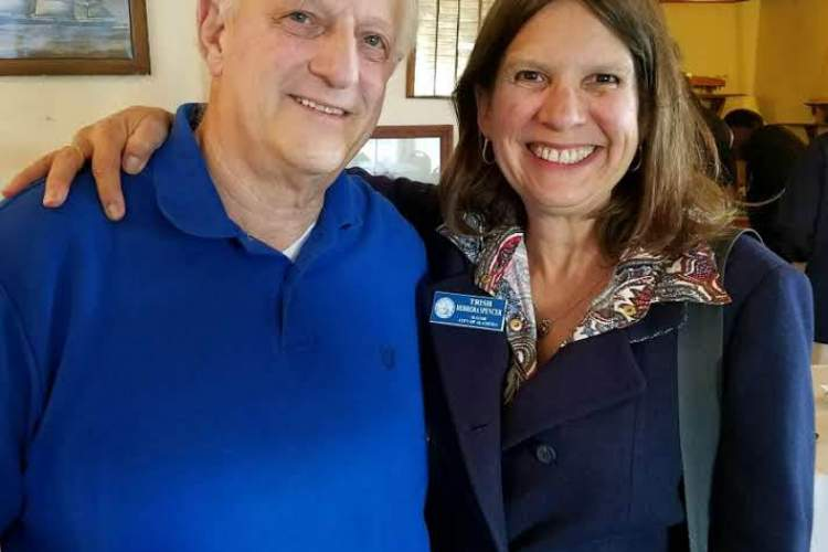 Courtesy photo  Alameda World Tournament Baseball Board Member Randy Marmor and Mayor Trish Spencer attended a fundraising dinner at the Aeolian Yacht Club for the International Boys League Tournament to be held in the Island City this August.