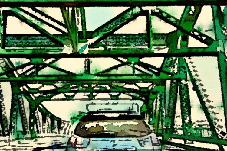 """Bonnie Randal Boller  """"Stuck in Traffic"""" will be one of the works on display as the Frank Bette Center celebrates Alameda's Park Street Bridge in a new exhibition."""