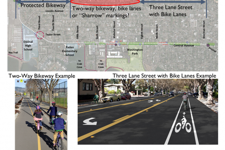 """Photos courtesy City of Alameda &nbsp&nbsp The Central Avenue project stretches 1.7 miles between Main Street at Pacific Avenue and Sherman Street at Encinal Avenue. It focuses on making the street safer for all users. The city has proposed several options for the area closest to Webster Street, including a """"no-change"""" option. The city is looking for the public's input on the project now, as a study of the West End is expected to begin in 2019."""
