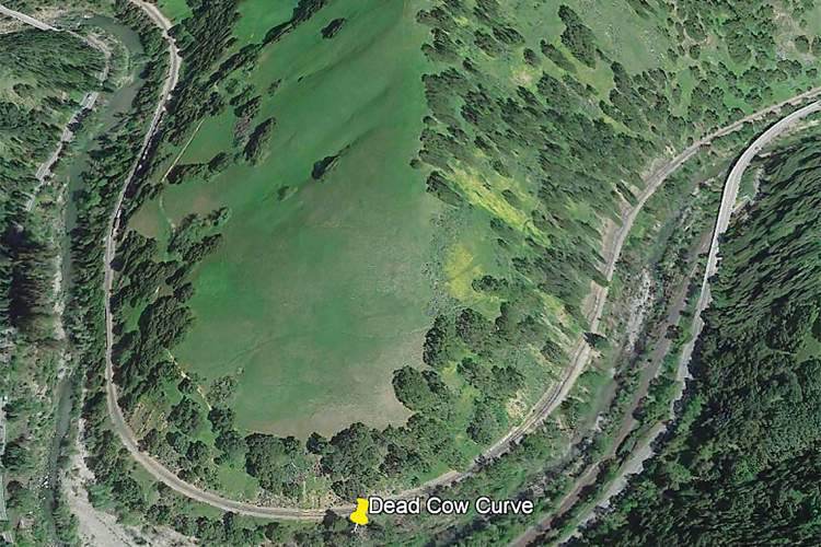 Courtesy Google Maps &nbsp&nbsp Work on the Western Pacific Railroad stopped at Dead Cow Curve in Niles Canyon on Oct. 2, 1866. The decision not to lay rails from this point to Sacramento played a role in making Alameda the transcontinental railroad's first West Coast destination.