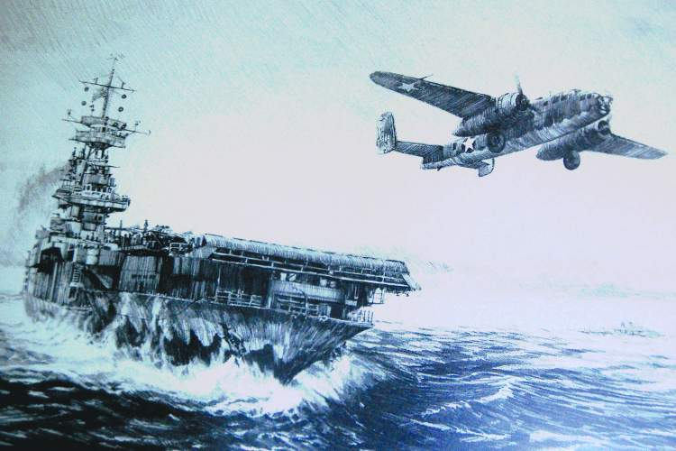 "From the Robert Bailey illustration, ""Avenging Strike"" ANAM collection &nbsp&nbsp The lead Mitchell B-25 bomber of the famed Doolittle Raid takes to the skies from the deck of Alameda's USS Hornet on April 18, 1942."