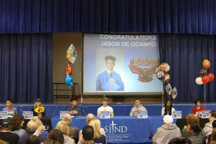 Courtesy photo &nbsp&nbsp Eight student-athletes from St. Joseph Notre Dame High School signed up with their  official colleges of choice at a ceremony held Wednesday, April 17.