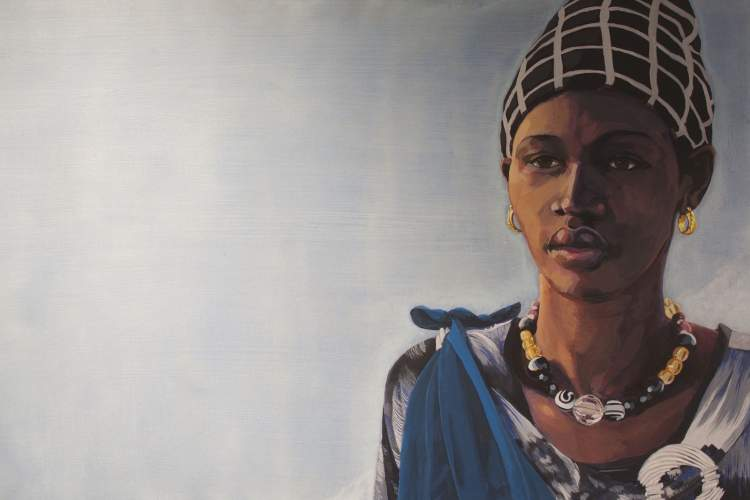 "Courtesy photo - Painter Dave George's ""Woman with Bead Necklace"" will be auctioned off to raise money for two charities that benefit women and children in Africa tomorrow."