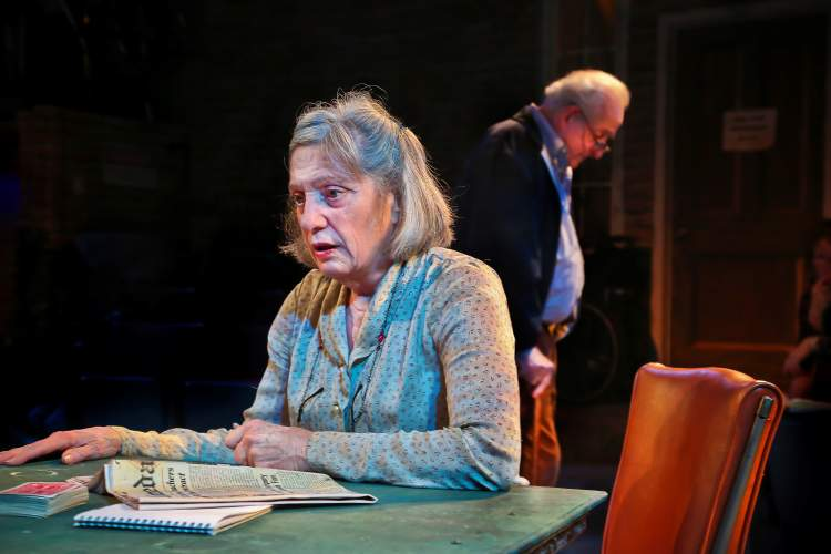 Jim Norrena, ACT OUT photography  Sally Hogarty (foreground) and Kip Wixson are Fonsia and Weller, two seniors who turn to gin rummy to pass the time, in the current play at Altarena Playhouse. Don't miss the Alameda Sun's performance as the hapless local newspaper on the table.