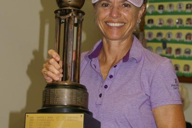 Courtesy photo &nbsp&nbsp Stephanie Bellato displays the trophy she earned as Alameda Women's Golf Club 2019 Champion.