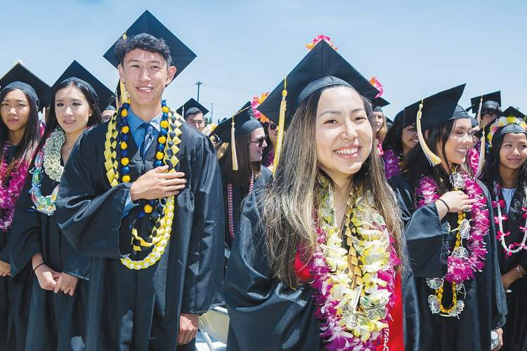 Saul Bromberger Sandra Hoover Photography &nbsp&nbsp Graduates of Alameda High School take the pledge of allegiance during last month's graduation ceremony on Thompson Field.