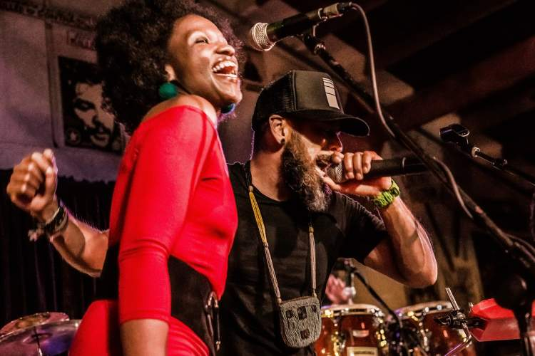 Andrea Cash &nbsp&nbsp Vocalist Kenya Moses (left) and co-founder, lead singer and lyricist Rowan Jiménez front the Latin Afro-pop band Guarandinga appearing in Alameda this Saturday.