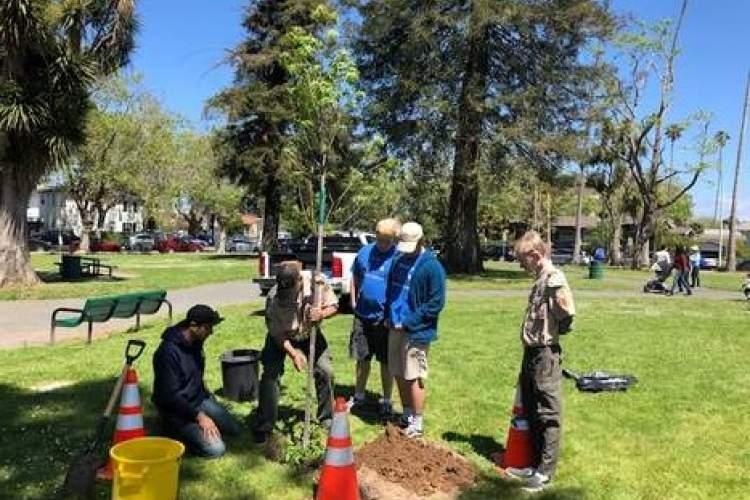 Courtesy photo &nbsp&nbsp Left to right: Matt Nowlen (kneeling), Scoutmaster Doug Mackenzie, Sean Mackenzie, Tanner Mackenzie and Sam Meyer marked Earth Day with a tree planting on April 20 in Upper Washington Park.