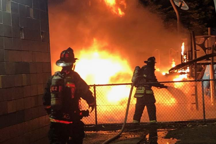 Alameda Fire Department &nbsp&nbsp Firefighters arrived at Woodstock Park to find a play structure completely engulfed in flames.
