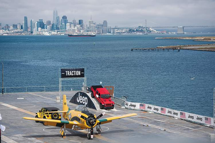 Courtesy photo &nbsp&nbsp A Jeep crawls over an obstacle 200 feet up on the USS Hornet's flight deck.