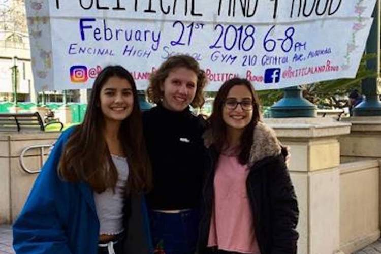"""Photo courtesy &nbsp&nbsp Encinal High School Encinal Junior-Senior High School's """"Political and Proud"""" is one of the school programs that will be highlighted at Salute to Education on April 27. Pictured left to right: Sarah Skaff, Lily Conable and Anisya Lustig-Ellison."""