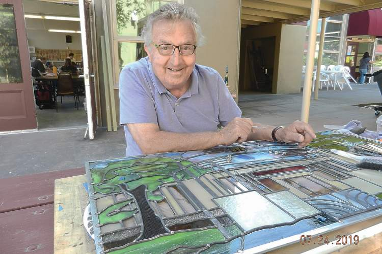 Courtesy photos &nbsp&nbsp Anto Aghapekian worked for more than two years to complete a handmade stained-glass window celebrating Mastick Senior Center. The window appears below.