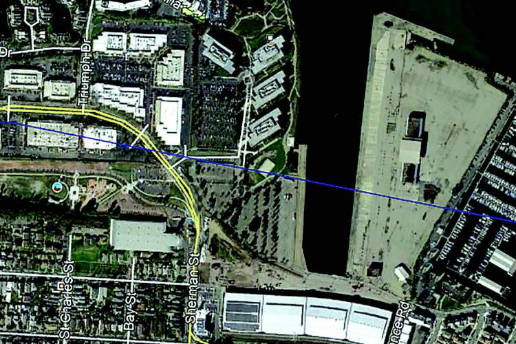 Google Earth Revised plans to develop Encinal Terminals (A) come before the Planning Board on Monday. The site is located north of the Del Monte warehouse (B) and east of Jean Sweeney Open Space (C) and Wind River (D).
