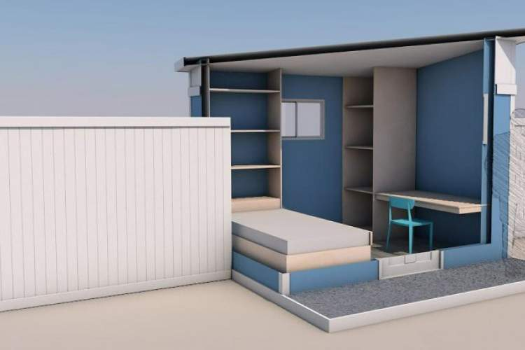 This is a rendering of the Group Delphi temporary housing the city wants to erect to house a portion of the city homeless population