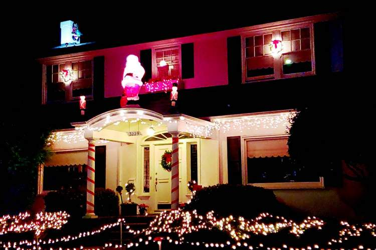 Homeowners on Christmas Tree Lane (Thompson Avenue between High Street and Fernside Boulevard) didn't disappoint again this year. For a series of photos from the street,