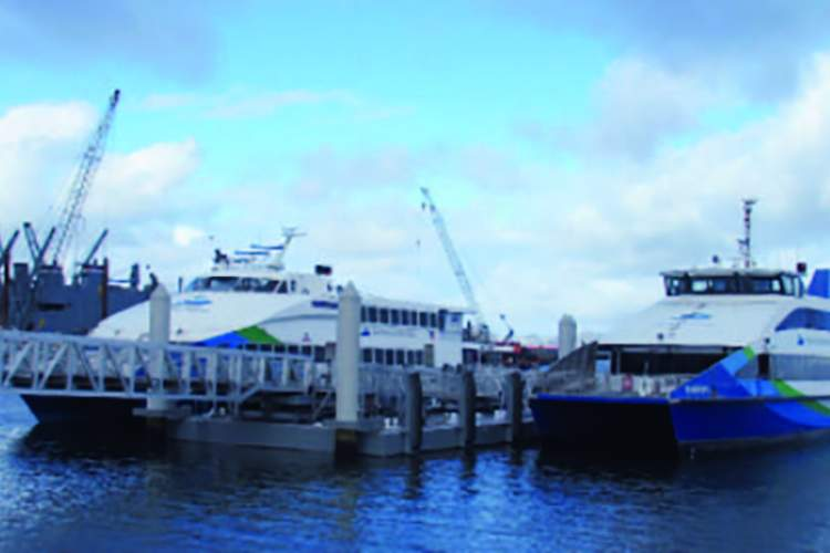 A pair of ferries did a test run in May 2020 at the Seaplane Lagoon terminal. Now it's all systems go and ferries are running to San Francisco.