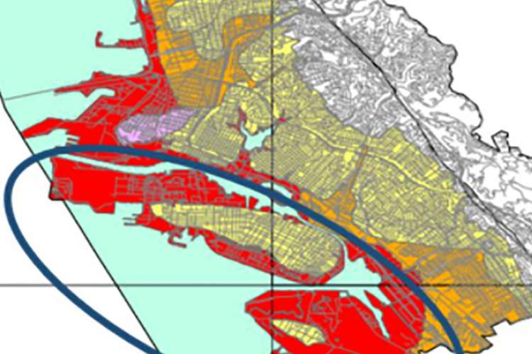 This map shows the liquefaction hazard in the East Bay with Alameda circled in dark blue. Areas in red represent the highest danger of liquefication during a magnitude 7.1 earthquake on the Hayward fault. Wet sand can become liquid-like and the ground may crack and move. This movement could damage surface structures and underground utilities. The map depicts the hazard at a regional scale and should not be used for site-specific design.