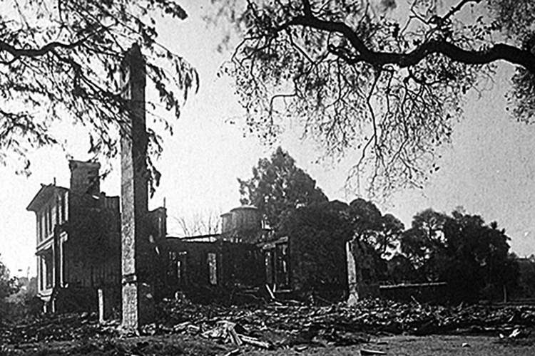 A.A. Cohen's son Edgar took this photograph of the family home after the 1897 fire destroyed it. No one was injured in the fire. A.A.'s widow, Emilie was living across Versailles Avenue with Edgar and his family. See page 1 for a photograph of the home before the fire.