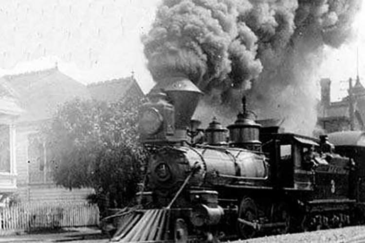Photos courtesy Oakland History Room&nbsp&nbsp A South Pacific Coast narrow-gauge train steams down Encinal Avenue after departing the High Street Station.