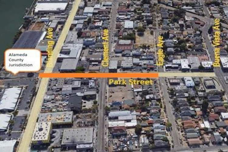 City of Alameda &nbsp&nbsp Work on Blanding Avenue and Park Street will take place in two phases. Left, from the Park Street Bridge to Eagle Avenue will be under construction on Sunday, Nov. 4, from 7 p.m. to 5 a.m. Monday morning, Nov. 5.