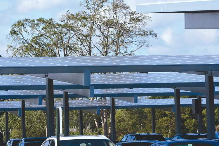 Richard Bangert &nbsp&nbsp The VA parking lot at Alameda Point will have solar canopies similar to the ones in this photo of the parking lot at Abbott Diabetes Care on South Loop Road in Harbor Bay Business Park.