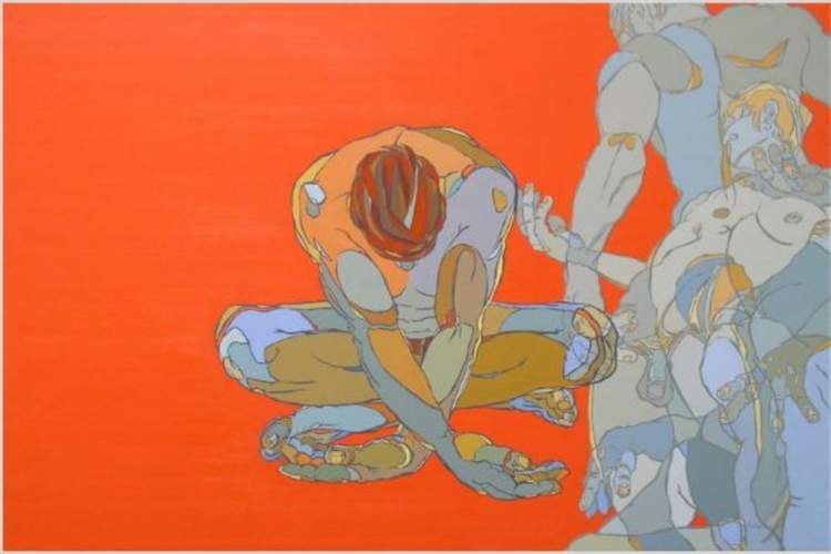 Reflecting, an oil on panel painting by Fernando Reyes is part of The Figure opening tomorrow night.