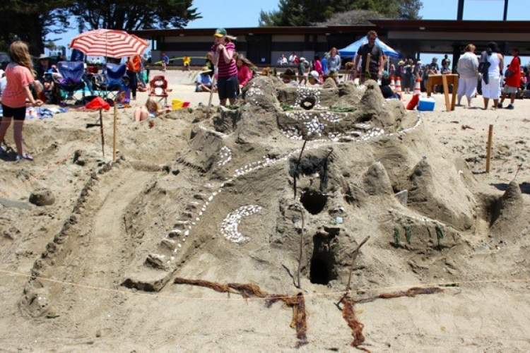 Photo by JoanAnn Radu-Sinaiko - In the sand castle division Escher's Heshers from Alameda won first place in the 13-and-over age group for this castle.