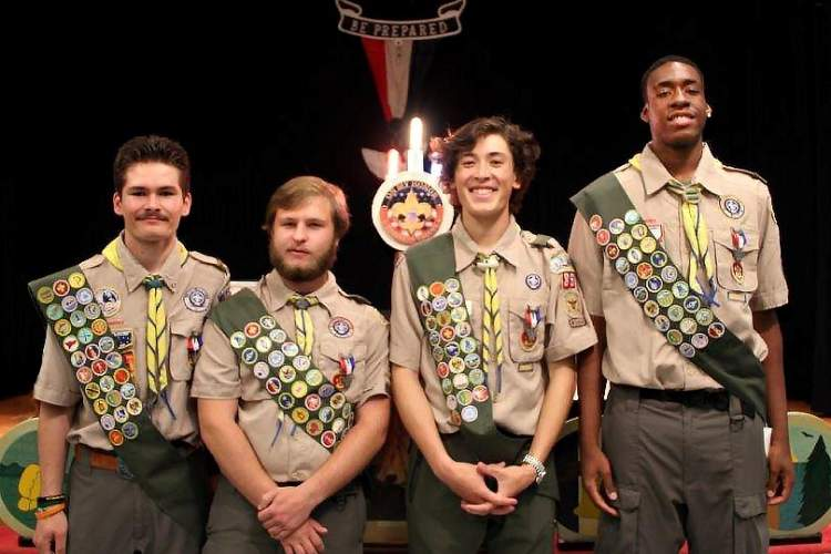 Julia Carvalho &nbsp&nbsp Left to right; Alameda Eagle Scouts recognized in the spring are: Charles Carvalho, Miles Abadia, Aidan Potts and Mutaaz Whitehead.