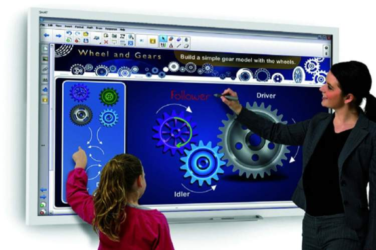 """Courtesy photo &nbsp&nbsp The interactive flat board or """"smart"""" board allows students and teachers to not only write on the """"blackboard"""" but also interact with it, sync it with various electronic devices and share it with the classroom."""