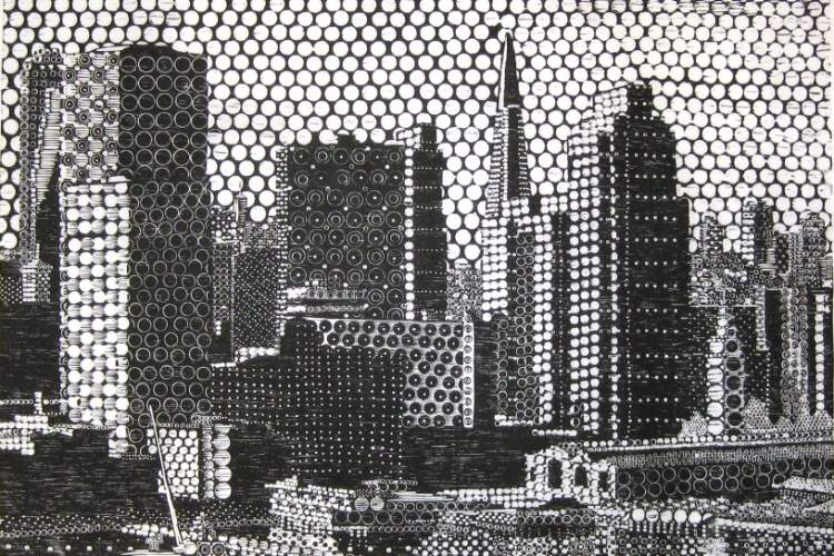 "A woodcut titled ""The Waterfront"" by Gary Comoglio and works by many other Bay Area artists go on display tomorrow night as part of Urban Grit."