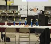 Chairs await the judges, head speller