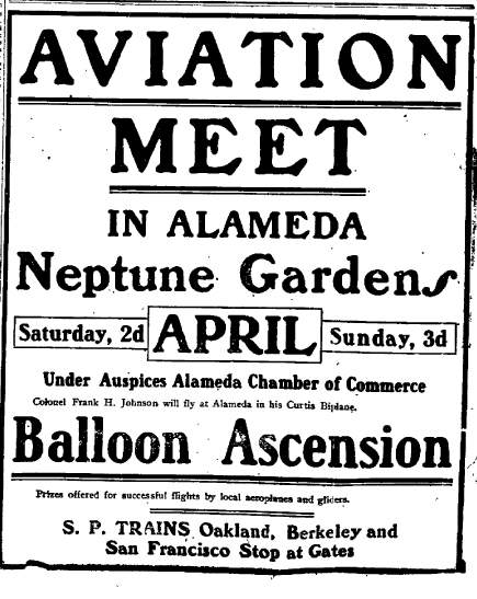 An ad for Neptune Gardens Aviation Meet