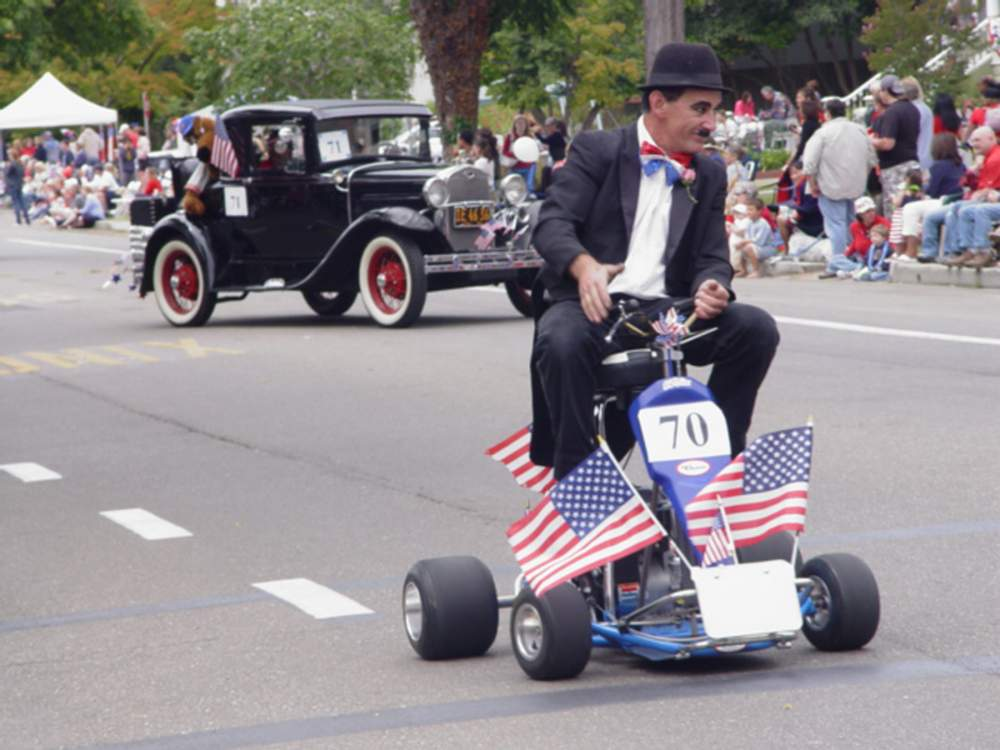 Mark Betz as Charlie Chaplin makes a regular appearance (or two) on his odd vehicles.
