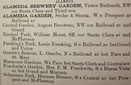 Early phone books listed Alameda's garden resorts.